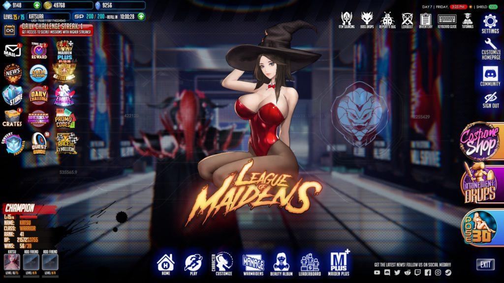 League of Maidens - Главное меню обозначения