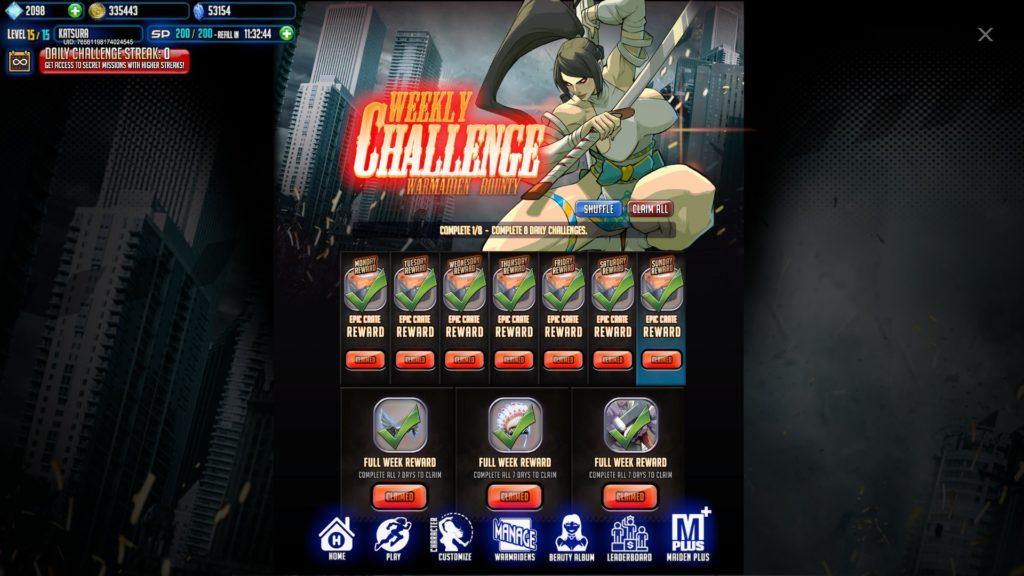 League of Maidens - Weekly Challenge/Ежедневные испытания