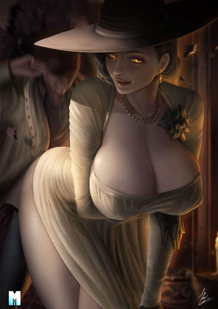Фан арт Леди Димитреску из Resident Evil Village