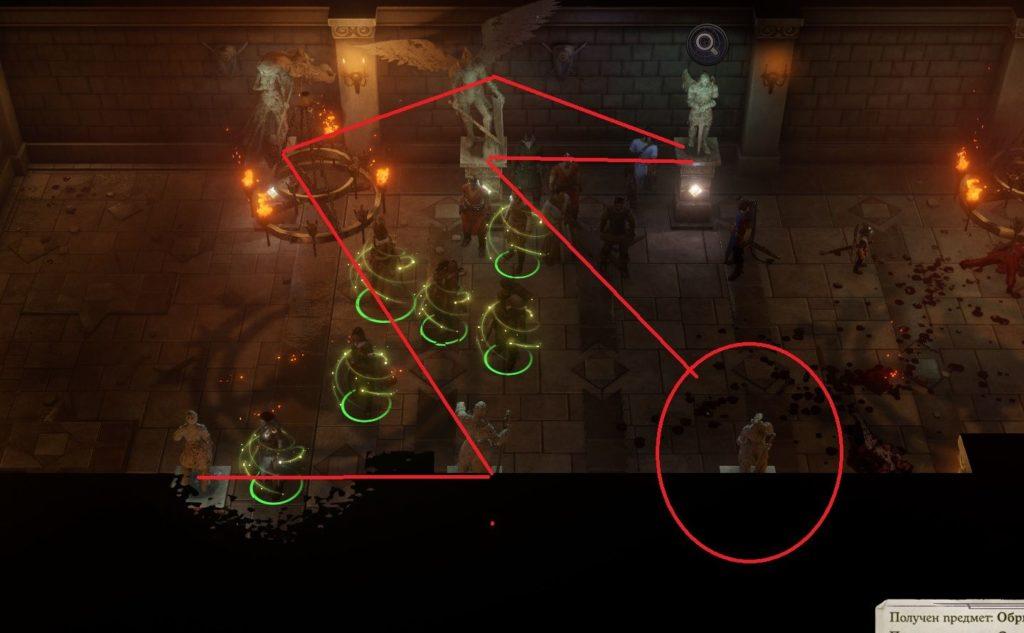 Pathfinder: Wrath of the Righteous головоломка статуи (Серый гарнизон)